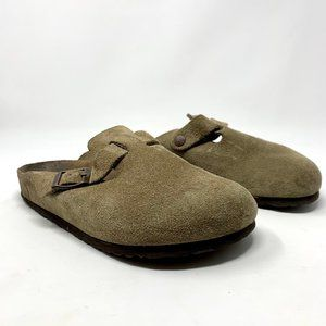 Birkenstock Boston Suede Leather Clogs in Taupe
